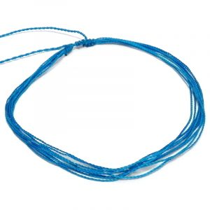 Handmade multi strand wax-coated solid colored string pull tie choker necklace in turquoise blue color.