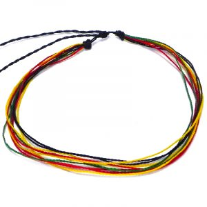 Handmade multi strand wax-coated Rasta string pull tie choker necklace in red, green, yellow, and black color combination.