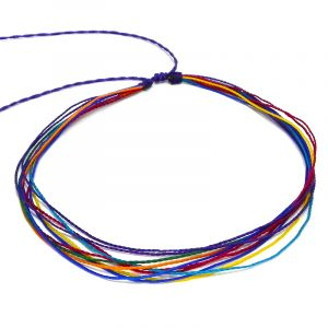 Handmade multi strand wax-coated multicolored string pull tie choker necklace in rainbow colors.