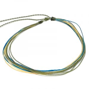 Handmade multi strand wax-coated multicolored string pull tie choker necklace in olive green, turquoise blue, and beige color combination.