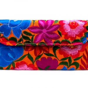 Handmade floral clutch wallet with embroidered cotton, magnetic snap closure, and crossbody strap in orange.