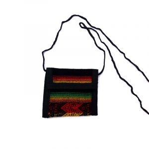 Mini envelope wallet coin purse with Rasta-colored tribal print striped pattern material (or manta Inca), hook and loop fastener, and strap.