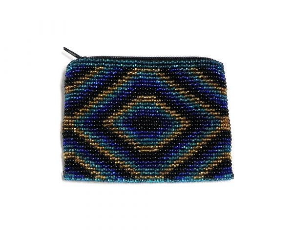 Handmade diamond pattern beaded coin purse with Czech glass seed bead and zipper closure in blue, black, and gold colors.