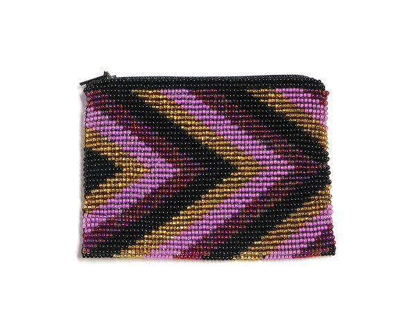 Handmade arrow pattern fashion beaded coin purse with Czech glass seed bead and zipper closure in pink, burgundy, gold, and black colors.
