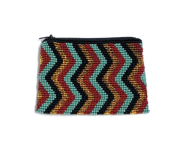 Handmade chevron pattern beaded coin purse with Czech glass seed bead and zipper closure in turquoise/mint, gold, black, and tan colors.