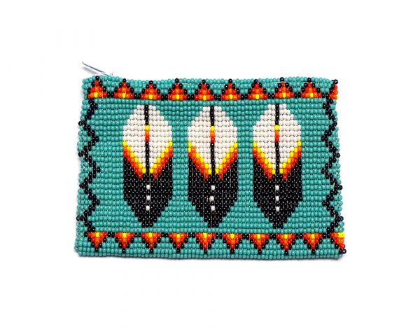 Handmade triple feather pattern beaded coin purse with Czech glass seed bead and zipper closure in turquoise.