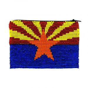Handmade Arizona state flag beaded coin purse with Czech glass seed bead and zipper closure.