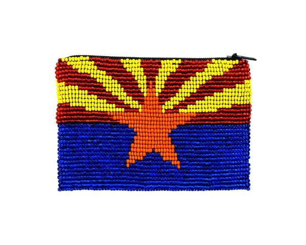 Handmade Arizona state flag beaded coin purse with Czech glass seed bead and zipper closure.