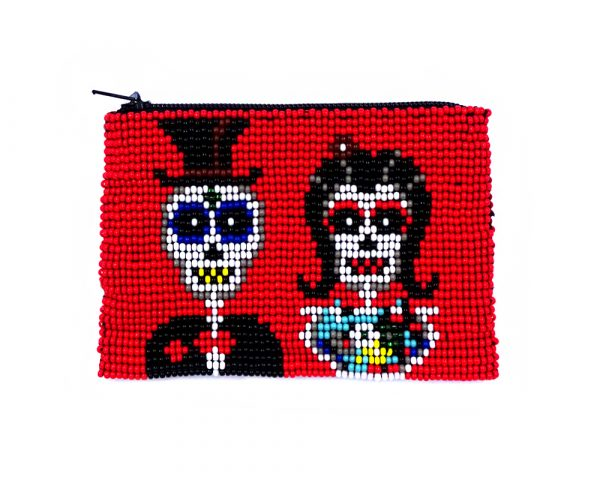 Handmade Day of the Dead sugar skull couple beaded coin purse with Czech glass seed bead and zipper closure in red.