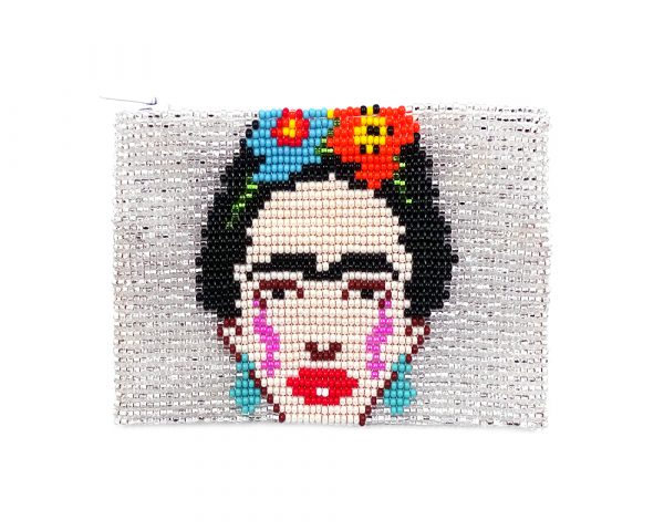 Handmade Frida Kahlo portrait beaded coin purse with Czech glass seed bead and zipper closure in white.