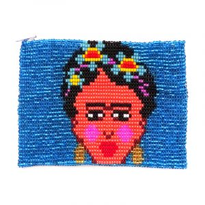 Handmade Frida Kahlo orange portrait beaded coin purse with Czech glass seed bead and zipper closure in light blue.