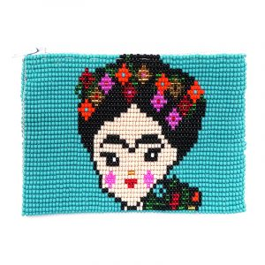 Handmade Frida Kahlo cartoon portrait beaded coin purse with Czech glass seed bead and zipper closure in turquoise.