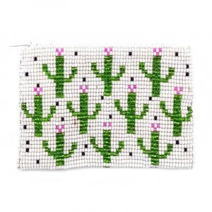Handmade multi cactus beaded coin purse with Czech glass seed bead and zipper closure in white.