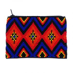 Handmade Native American coin purse with diamond pattern, Czech glass seed bead and zipper closure in blue and orange color.