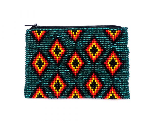 Handmade native diamond coin purse with multi diamond pattern, Czech glass seed bead, and zipper closure in teal and orange color.
