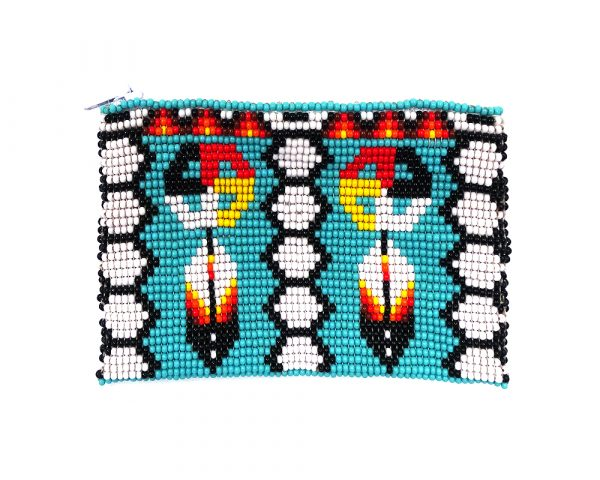 Handmade native bead coin purse with medicine wheel feather pattern, Czech glass seed bead, and zipper closure in turquoise and multicolored.