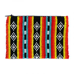 Handmade tribal bead coin purse with striped pattern, Czech glass seed bead, and zipper closure in turquoise, red, orange, yellow, and black.