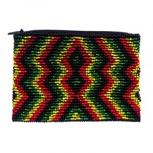 Handmade rasta bead coin purse with shiny Czech glass seed bead and zipper closure in trippy diamond pattern.