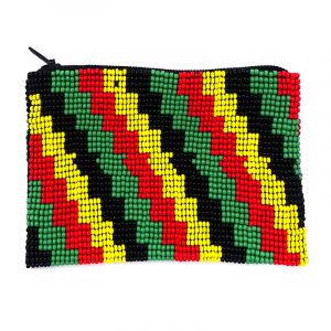 Handmade rasta bead pouch coin purse with matte Czech glass seed bead and zipper closure in zig zag striped pattern.