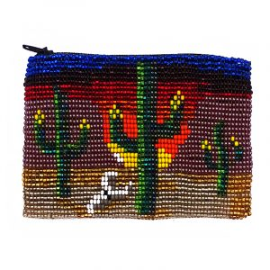 Handmade beaded southwest cactus coin purse pouch with shiny Czech glass seed bead and zipper closure in multicolored color.