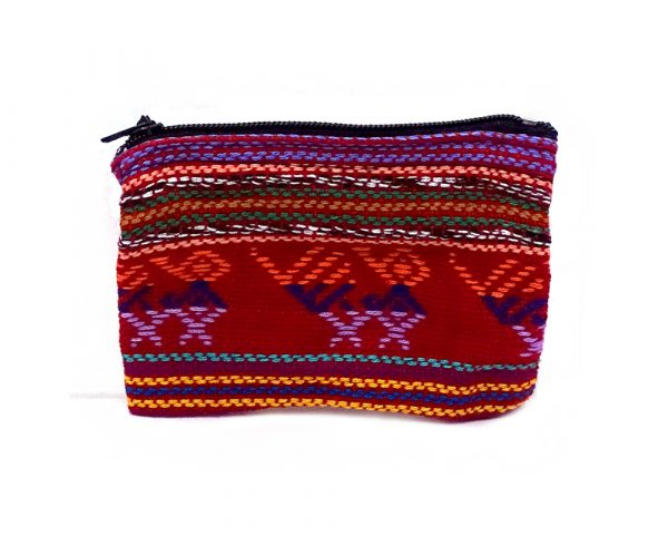 Handmade mini tribal pouch coin purse with woven multicolored patterns and zipper closure in red.
