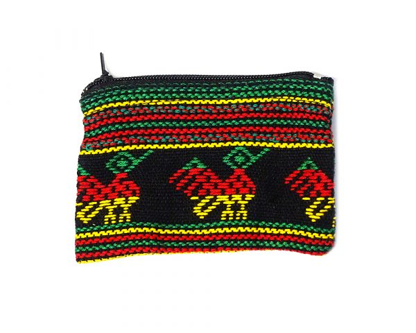 Handmade mini rasta tribal pouch coin purse with woven Rasta-colored patterns and zipper closure in black.