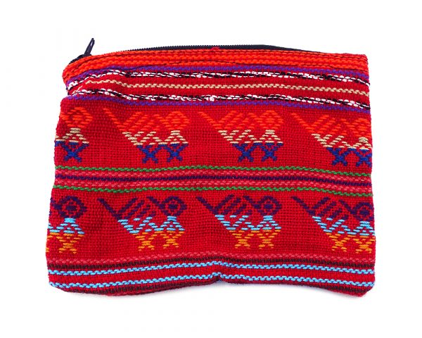Handmade tribal coin purse with woven multicolored patterns and zipper closure in red.