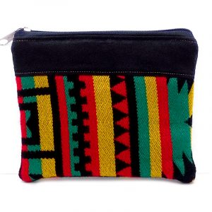 Handmade large Rasta pouch coin purse with striped tribal pattern, cushion, and zipper closure in black.