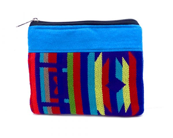Handmade large tribal pouch coin purse with striped pattern, cushion, and zipper closure in turquoise and multicolor.
