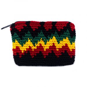 Handmade Rasta crochet pouch coin purse with zig zag pattern, crocheted cotton, and zipper closure.