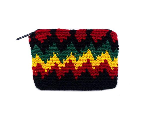 Handmade Rasta crochet pouch coin purse with zig zag pattern, crocheted cotton, and zipper closure.