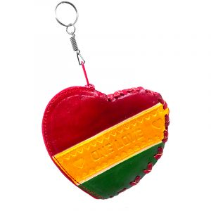 Handmade Rasta heart keychain pouch coin purse with embossed leather, silver keyring, and zipper closure in One Love design.