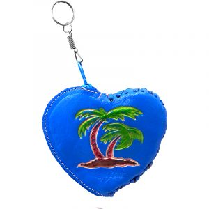 Handmade heart keychain pouch coin purse with embossed leather, silver keyring, and zipper closure in turquoise color with palm tree design.
