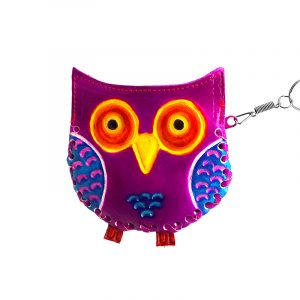 Handmade owl keychain pouch coin purse with embossed leather, silver keyring, and zipper closure in purple.