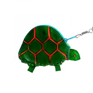 Handmade turtle keychain pouch coin purse with embossed leather, silver keyring, and zipper closure in green.