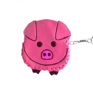 Handmade pig keychain pouch coin purse with embossed leather, silver keyring, and zipper closure in pink.