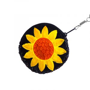 Handmade round sunflower keychain pouch coin purse with embossed leather, silver keyring, and zipper closure in yellow and black.