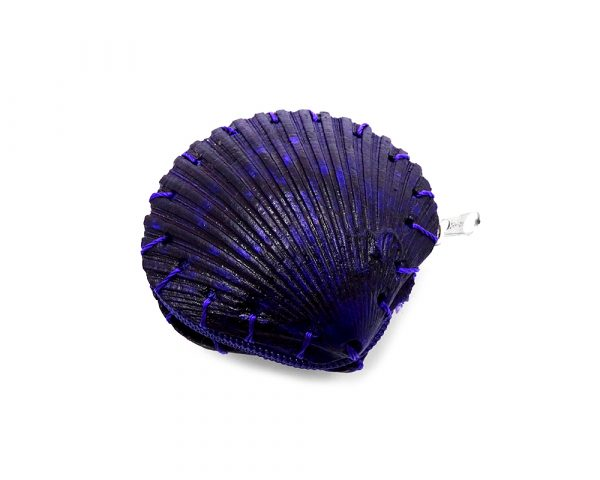 Handmade natural seashell pouch coin purse with dyed clam shell and zipper closure in purple.