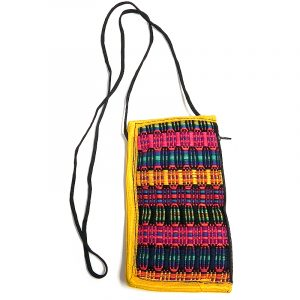 Handmade eyeglasses pouch with multicolored woven cotton striped design, cushion, zipper pocket, and strap in yellow.
