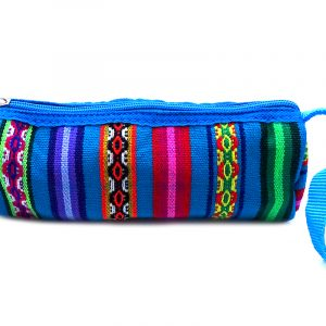 Handmade tribal cosmetic bag with multicolored acrylic wool, zipper closure, and wrist strap in turquoise blue.