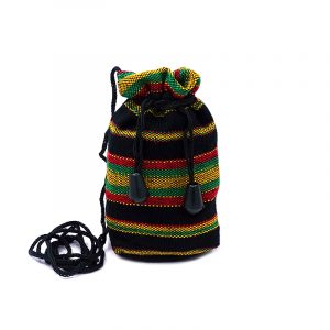 Handmade Rasta magic pouch with acrylic wool, drawstring closure, and strap in striped pattern.
