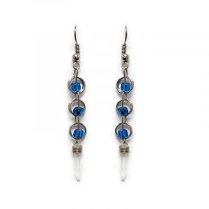 Handmade long seed bead and alpaca silver metal chain link earrings with clear quartz crystal point dangle in turquoise blue color.