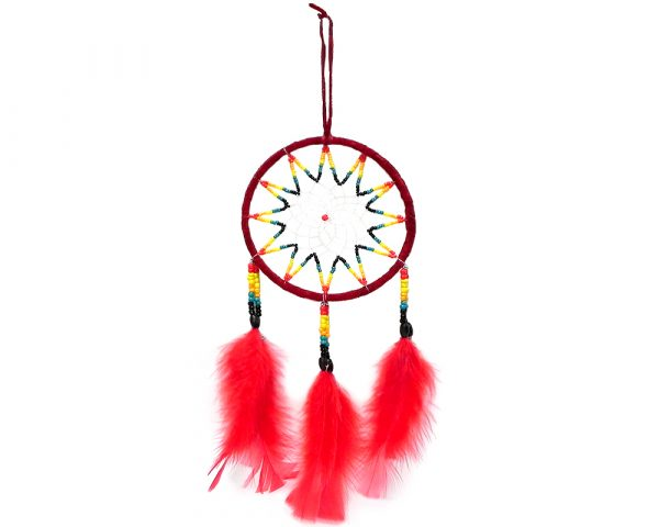 Handmade large round suede leather beaded dream catcher hanging ornament with multicolored seed beads and natural feather dangles in red color.