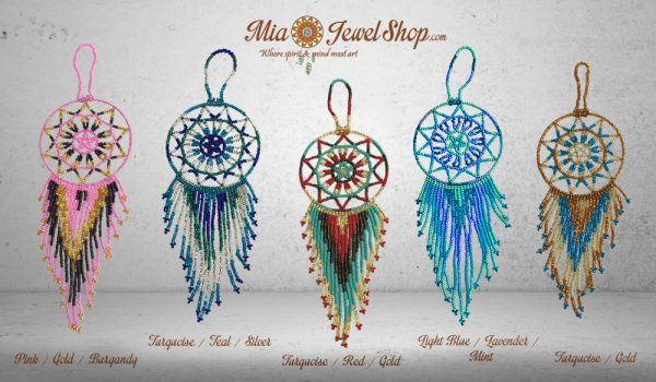 Multicolored Czech glass seed bead dream catcher hanging ornament with beaded dangles.