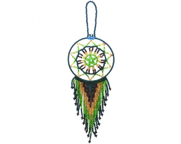 Handmade Czech glass seed bead dream catcher hanging ornament with beaded dangles in dark green, gold, lime green, and dark brown color combination.