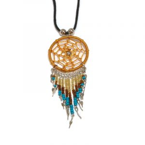 Handmade round thread dream catcher pendant with long seed bead and alpaca silver dangles on adjustable necklace in golden yellow, gold, brown, and turquoise color combination.
