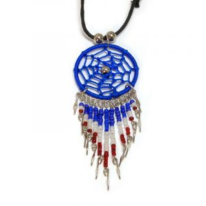 Handmade USA American themed round thread dream catcher pendant with long seed bead and alpaca silver dangles on adjustable necklace in blue, white, and red color combination.