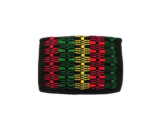Handmade Rasta woven trifold wallet with cotton, hook-and-loop closure, and inner zipper pocket in black.