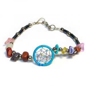 Handmade hematite, multicolored chip stone, and silver metal seed bead bracelet with round beaded thread dream catcher centerpiece in turquoise blue color.