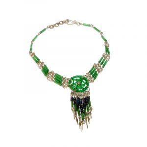Handmade seed bead and bugle bead silver metal chain anklet with round thread dream catcher and long beaded metal dangles in green and iridescent black color combination.